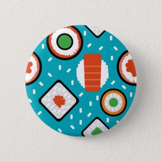 Chapa Redonda De 5 Cm Modelo inconsútil del dibujo animado del sushi del