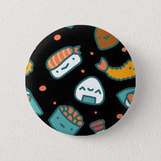 Chapa Redonda De 5 Cm Modelo inconsútil feliz lindo del sushi en negro