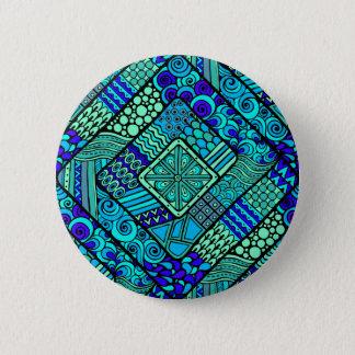 Chapa Redonda De 5 Cm Modelo tribal abstracto azulverde de Boho