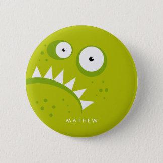 Chapa Redonda De 5 Cm Monstruo verde asustadizo divertido enojado gruñón