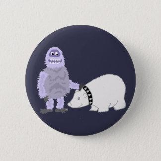 Chapa Redonda De 5 Cm Muñeco de nieve abominable con el oso polar del