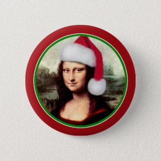 Chapa Redonda De 5 Cm Navidad Mona Lisa con el gorra de Santa