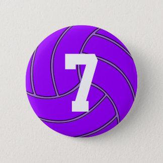 Chapa Redonda De 5 Cm Número del jersey del voleibol o Pin púrpura de