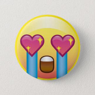 Chapa Redonda De 5 Cm Ojos emocionados chica Emoji gritador del corazón