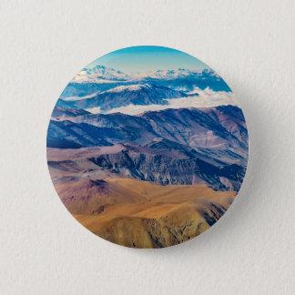 Chapa Redonda De 5 Cm Opinión aérea de las montañas de los Andes, Chile