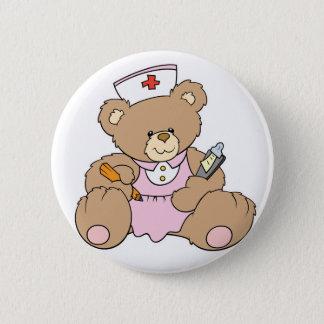 Chapa Redonda De 5 Cm Oso lindo del RN de la enfermera