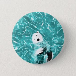 Chapa Redonda De 5 Cm Oso polar juguetón en diseño del agua de la