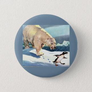 Chapa Redonda De 5 Cm oso polar y pingüino de los años 40