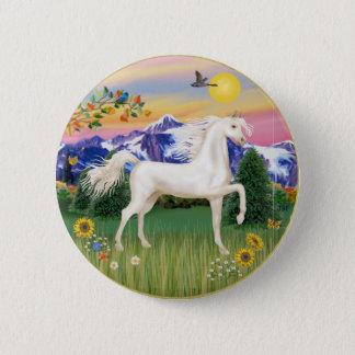 Chapa Redonda De 5 Cm País de la montaña - caballo árabe blanco