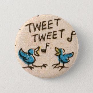 Chapa Redonda De 5 Cm Pájaros azules del canto