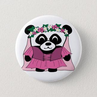 Chapa Redonda De 5 Cm Panda del chica en vestido rosado del renacimiento