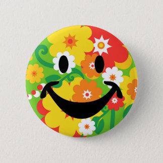 Chapa Redonda De 5 Cm Papel pintado divertido y smiley del flower power