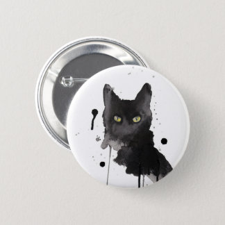 Chapa Redonda De 5 Cm perno de la acuarela del gato negro