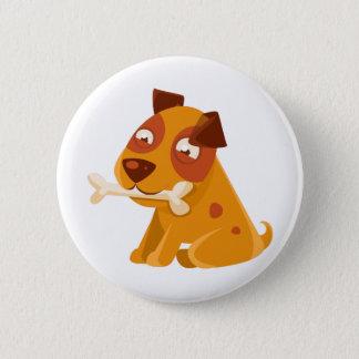 Chapa Redonda De 5 Cm Perrito sonriente que sostiene un hueso en la boca