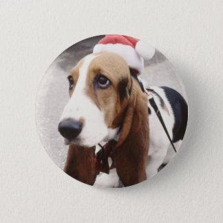 Chapa Redonda De 5 Cm Perro del navidad
