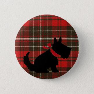 Chapa Redonda De 5 Cm Perro lindo de Scotty y tartán rojo