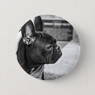 Chapa Redonda De 5 Cm Perro temático, dogo negro de Francia con la