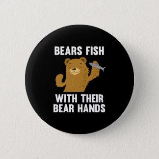 Chapa Redonda De 5 Cm Pescados de los osos con sus manos del oso