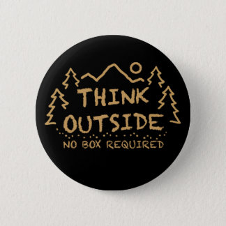 Chapa Redonda De 5 Cm Piense afuera, ninguna caja requerida