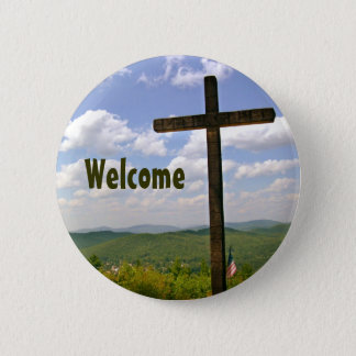 Chapa Redonda De 5 Cm Pin cruzado cristiano de Greeters de la iglesia