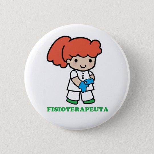 Chapa Redonda De 5 Cm Pin de chica fisioterapeuta