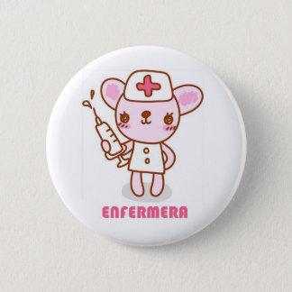 Chapa Redonda De 5 Cm Pin de enfermera ratoncita