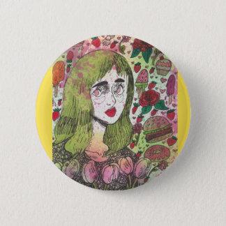 Chapa Redonda De 5 Cm Pin del amarillo del chica del tulipán
