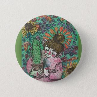 Chapa Redonda De 5 Cm Pin del chica del cactus