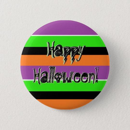 Chapa Redonda De 5 Cm Pin negro púrpura de la verde lima del feliz