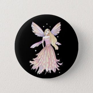 Chapa Redonda De 5 Cm Pin rosado bonito de la hada por Molly Harrison