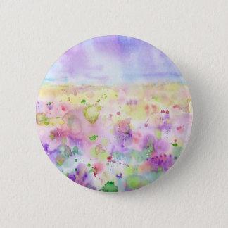 Chapa Redonda De 5 Cm Pintura abstracta del prado del wildflower de la