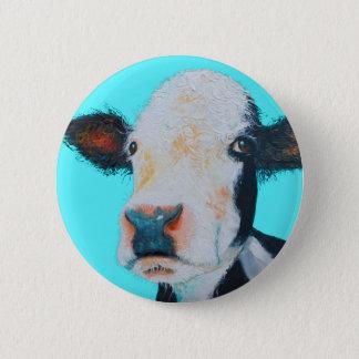 Chapa Redonda De 5 Cm Pintura de la vaca en fondo azul
