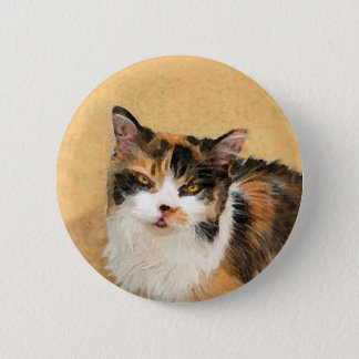 Chapa Redonda De 5 Cm Pintura del gato de calicó - arte original lindo