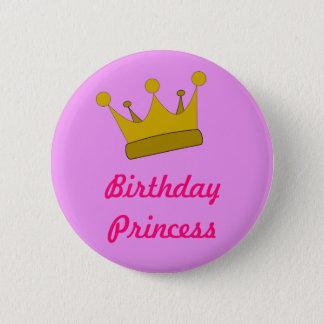 Chapa Redonda De 5 Cm Princesa Button del cumpleaños