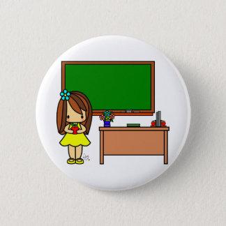 Chapa Redonda De 5 Cm Profesor lindo en su sala de clase que sostiene