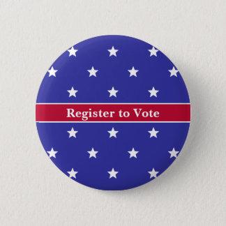 Chapa Redonda De 5 Cm Registro blanco y azul rojo de encargo para votar