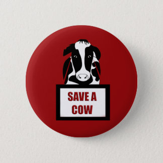 Chapa Redonda De 5 Cm Reserva vegetariana del vegano una vaca