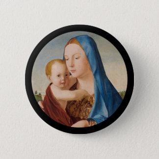 Chapa Redonda De 5 Cm Retrato de Maria que detiene al bebé Jesús