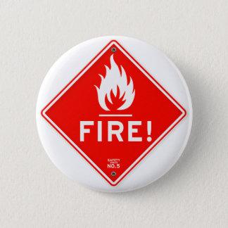 Chapa Redonda De 5 Cm Riesgo de incendios rojo de la señal de peligro de