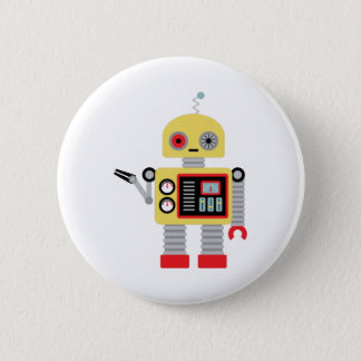 Chapa Redonda De 5 Cm Robot amarillo