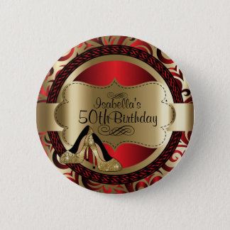 Chapa Redonda De 5 Cm Rojo y cumpleaños del oro con los tacones altos