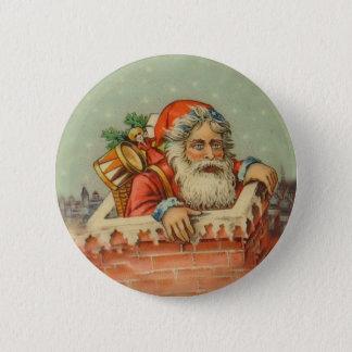 Chapa Redonda De 5 Cm Santa en diseño del estilo del vintage de la
