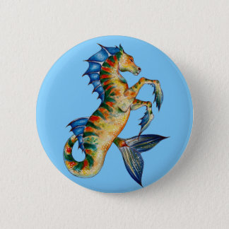 Chapa Redonda De 5 Cm Seahorse en azul