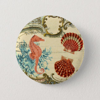 Chapa Redonda De 5 Cm seahorse moderno francés del seashell del vintage