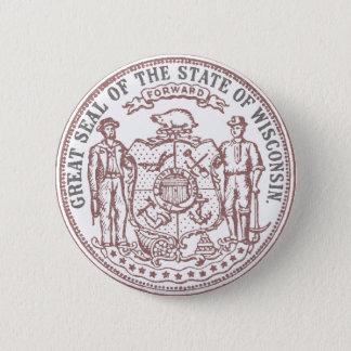 Chapa Redonda De 5 Cm Sello descolorado de Wisconsin