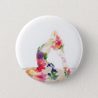 Chapa Redonda De 5 Cm Serie floral de la actitud de la yoga