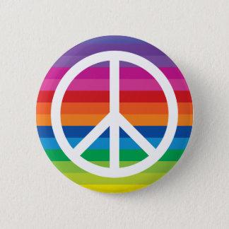 Chapa Redonda De 5 Cm Signo de la paz del arco iris