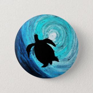 Chapa Redonda De 5 Cm Silueta de la tortuga de mar (arte de K.Turnbull)