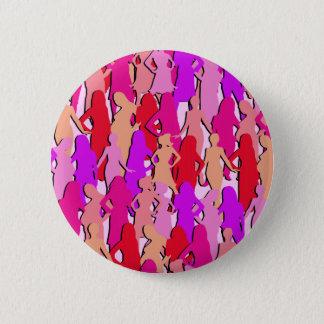 Chapa Redonda De 5 Cm Silueta rosada de las mujeres