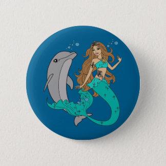 Chapa Redonda De 5 Cm Sirena con el delfín